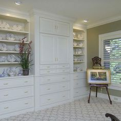 Built In China Cabinet Design,       Luv all the drawers.