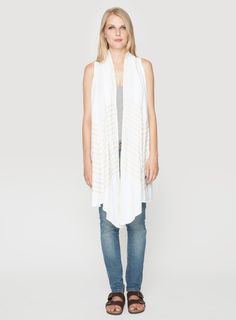 Johnny Was Clothing JWLA embroidered linen Petra Linen Draped Vest in White