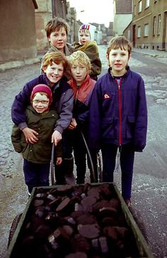 east Germany, children gathering coal