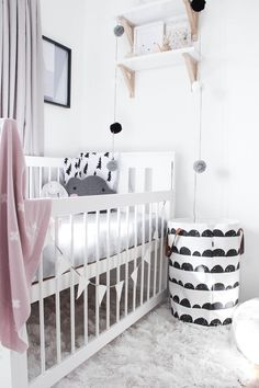 Black and white nursery with hints of pink
