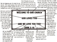 Welcome to our church! God loves you and we love you too.