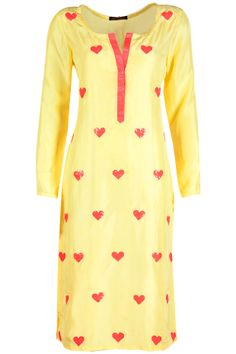 Yellow sequin applique kurta available only at Pernia's Pop-Up Shop. Amrita Thakur