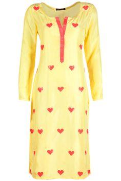 Yellow sequin applique kurta available only at Pernia's Pop-Up Shop. Amrita Thakur