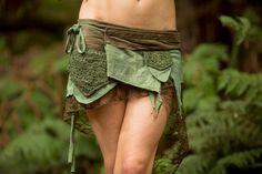Green Pixie Pocket Skirt - Pixie Pocket Skirt- Fairy Elf Sexy Hippie Boho Goa Festival Pixie Gypsy Bohemian Skirt