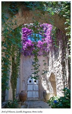 Ischia, Italy portals-to-the-enchanting-world Beautiful Gardens, Beautiful Flowers, Beautiful World, Beautiful Places, Patios, Porches, Windows And Doors, Doorway, Welt
