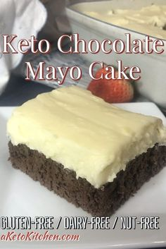 Keto Chocolate Mayo Cake is a moist and delicious homemade chocolate cake perfect for a celebration either with or without cream cheese icing! Keto Chocolate Mayo Cake is perfect for people with multiple allergies; it is gluten-free, dairy-free, nut-free, Low Carb Chocolate Cake, Homemade Chocolate, Chocolate Cream, Chocolate Cookies, Low Carb Sweets, Low Carb Desserts, Gluten Free Desserts, Dairy Free Nut Free Recipes, Keto Postres