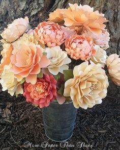 Paper Flowers -Wedding - Birthday - Special Events - Set of 24 - Mixed Sizes - Made To Order