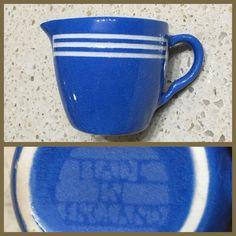 """Bretby Kitchen Kupboard tiny Blue Cream Jug. 2"""" tall."""