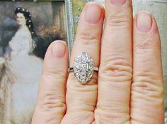 Antique Engagement Ring European Cut Diamond Art Deco Ring 14K White Gold Feminine Navette Vintage Wedding Ring Bridal Jewelry ! on Etsy, $1,597.99