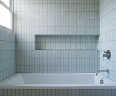 From Heath: Tile Inspiration Classic Field Subtle blues Our Classic Field tile in Robin's Egg (variation makes a big statement with subtle color. Photo by Mariko Reed Design by Vaughn Johnson Architect Bathroom Furniture, Bathroom Interior, Modern Bathroom, Small Bathroom, Fully Tiled Bathroom, Cream Bathroom, Gold Bathroom, Family Bathroom, Heath Ceramics Tile