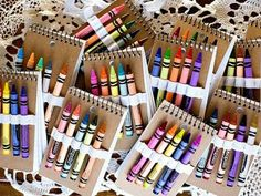 diy {notebooks & crayons) Perfect for Operation Christmas Child shoeboxes! Operation Christmas Child, Party Favors For Kids Birthday, Birthday Parties, Birthday Ideas, 2nd Birthday, Rainbow Party Favors, Art Party Favors, Rainbow Theme, Kids Party Bags
