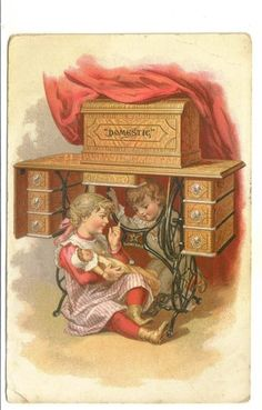 Advertising Trade Card Domestic Sewing Machines Canajoharie NY Children Doll