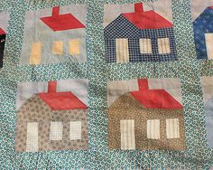 Antique 1800's School House Quilt~Fun and Folky~Schoolhouse on eBay at whisper-hill