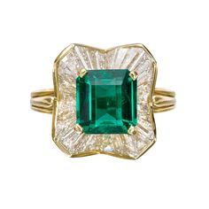 Emerald & Diamond 'Ballerina' Ring | Betteridge - * 3D profile gallery (see video) *