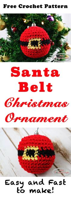 Santa Belt Christmas Ornament -filled crocheted ornament showing the belly of the Santa having the black belt with gold buckle - Free Crochet Pattern by Nicki's Homemade Crafts Crochet Christmas Ornaments, Christmas Crochet Patterns, Holiday Crochet, Christmas Time, Merry Christmas, Crochet Santa, Crochet Toys, Free Crochet, Crochet Crafts