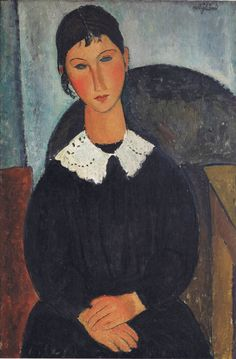 "Amedeo Modigliani ""Portrait of Girl with White Collar""  oil, canvas, 92x65  sm,  1917-8, collection Netter."