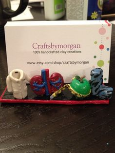 Clay Pottery - bussines card holders | Doctor or Nurse Business Card Holder Polymer Clay with Kidney and Lab ...