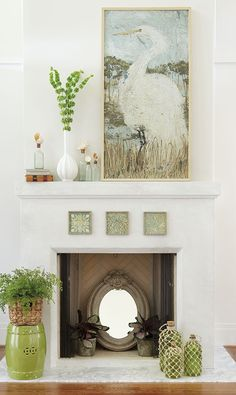 Filling the interior of your fireplace with a mirror not only bounces light around the room; it also makes a small space feel larger. And if you have a colorful rug covering the floor, a mirror will reflect it back into the room—an artful bonus.