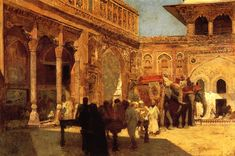 Edwin Lord Weeks, Elephants and Figures in a Courtyard, Fort Agra