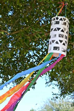 Have you ever done any STEAM projects with your kids?  A STEAM Filled Rainbow Windsock Art Project for Kids - Combining Science, Technology, Engineering, Art, and Math at B-Inspired Mama