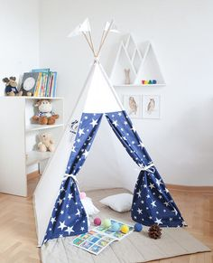 Items similar to Kids vigvam navy blue with white stars (wigwam tipi teepee play tent playhouse) ready to ship with beech poles on Etsy & Vigvam DALA HORSES tipi wigwam teepee play tent | Kids vigvams ...