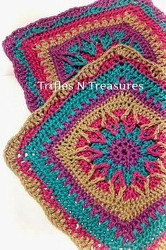 "12"" Starburst Square~Trifles N Treasures Free pattern"