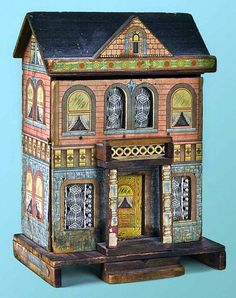 Bliss paper litho doll house, 12.9 Inches high.  Look at the lace curtains..