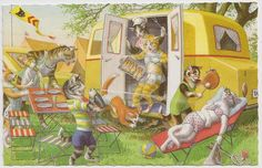 Cat Camping CATastrophe Alfred Mainzer Art by VintagePackRat
