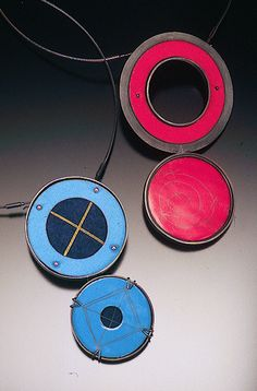 Jan Smith, British Columbia Canada. Pendant in silver, copper, enamel, steel  'Blue Dual Circles 2 & Red Dual Circles 3' 2004. Canadian Jewelry