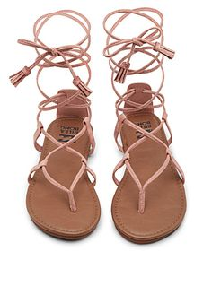 - Billabong at Simons - Accented by laces that tie at the ankle, these faux-suede sandals are the piece your summer boho wardrobe has been missing - Faux-leather insole - Embossed non-skid rubber outer sole Flat Gladiator Sandals, Shoes Flats Sandals, Sandals Outfit, Cute Sandals, Pump Shoes, Leather Sandals, Flat Shoes, Pink Sandals, Mens Flip Flops