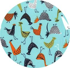"""Michael Miller, Just Us Chickens, Funky Chicken Fresh  Fabric is sold by the 1/2 Yard. For example, if you would like to purchase 1 Yard, enter 2 in the Qty. box at Checkout. Yardage is cut in one continuous piece when possible.  Examples:  1/2 yard = 1 1 yard = 2 1 1/2 yards = 3 2 yards = 4   1/2 Yard Measures ~18"""" x 44/45""""  Fiber Content: 100%  Cotton  Hover over image for a larger, better view.   Care Instructions: To increase the long..."""
