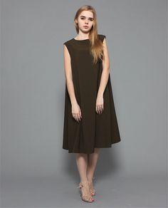 Свободное платье трапеция maybe ... оливкового цвета