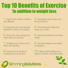 We all know that exercise is great for weight loss and keeping fit. But there's tons of other benefits too. Check out our top 10 on our blog: http://wp.me/p2BSLY-1rR