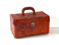 Tooled Leather Train Case Cherokee Rose Vintage by bigbangzero, $124.00