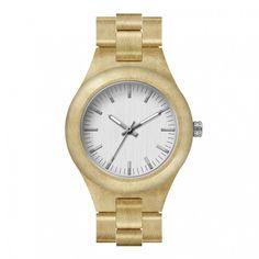 Houten Horloge Lichtbruin van horlogeomjepols.nl (lovely modern wood watch)