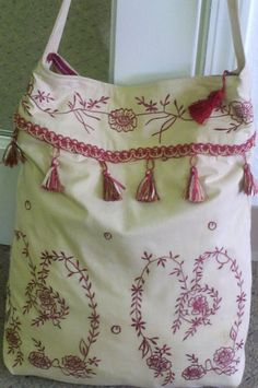 Beige and Burgundy Large Hobo Hip Bag embroidery by OdysseyandYve, $35.00