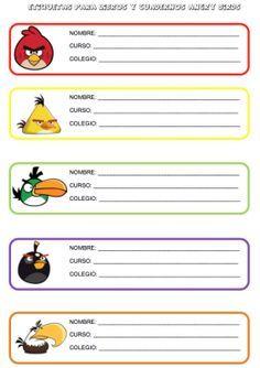 Etiquetas divertidas para libros y cuadernos de nuestros hijos y alumnos Angry Birda, School Labels, Stickers, Education, Hello Kitty, David, Key, Tools, Craft