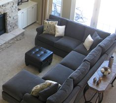 Charming Cheap Sectional Sofa Ideas For Minimalist Small Living Room With The Features Dark Grey Fabric U Shaped Sofas Placed In Front Of Fireplace, Pleasant Sectional Sofas Cheap For Living Room Remodeling Ideas: Furniture, Living Room Paint Colors For Living Room, Small Living Rooms, Living Room Grey, Home Living Room, Living Room Furniture, Living Room Designs, Modern Living, Sectional Sofa Layout, Living Room Sectional