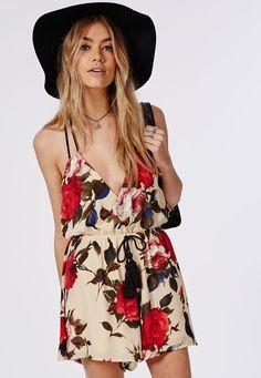 Floral Halterneck Tassle Tie Playsuit Beige - Playsuits - Missguided