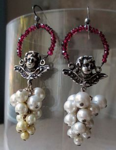 'cherubs and pearls' vintage assemblage earrings by The French Circus, $60.00