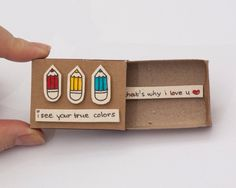 "Cute Anniversary Card/ Romantic Love Card ""That's why I love you"" Matchbox Gift box / Message box ""I see your true colors""(Diy Photo Box) Matchbox Crafts, Matchbox Art, Miss You Cards, Love Cards, Birthday Gifts For Boyfriend, Boyfriend Gifts, Deco Tumblr, Cute Gifts, Diy Gifts"