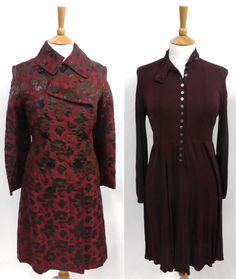 """Jean Muir. (1) """"Burgundy Brocade Double Breasted Coat with floral decorations, woven with pewter metallic threads, side pockets, long sleeves, fully lined.""""  (2) Claret Coloured Jersey Dress with long sleeves, smocking to the top of the sleeves, nehru style buttoned collar; buttons to the front; gathered skirt."""" Item Lot Number: 2092. Sold for GBP 110 in May 2015. Tennants Auctioneers: Jean Muir"""