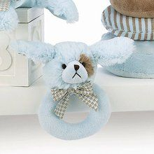 Lil Waggles Plush Blue Dog Ring Rattle. Available at OurPamperedHome.com