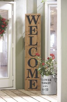 "Welcome Sign   Extend a huge ""Welcome"" to all who visit your home! Sheet metal letters; black painted finish."
