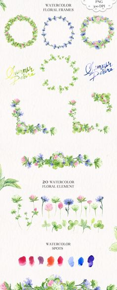 Watercolor Summer Flowers Collection