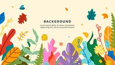 Design of floral banner, autumn theme, g...   Premium Vector #Freepik #vector #banner #flower #floral #tree Leaf Background, Background Patterns, Fall Flowers, Yellow Flowers, Vanilla Plant, Floral Banners, Interior Design Elements, Cute Black Cats