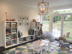 playroom. toddler room. baby animals. blue gray white gold. ikea kallax toy storage. land of nod. world market.