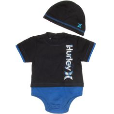 Hurley Baby Clothes Set with Beanie