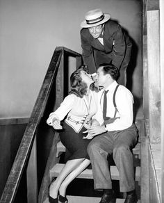 """Rita Hayworth, Gene Kelly and Phil Silvers on the set of """"Cover Girl."""""""