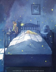 """The collection of tender illustrations for the children's books from Kim Minji, an illustrator from South Korea: new look at """"The Little Prince"""", """"Peter Pan"""" and others. Art And Illustration, Book Illustrations, Kim Min Ji, Jm Barrie, Animation Disney, Thomas Kinkade, Art Graphique, Stars And Moon, Peter Pan"""
